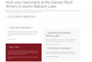 Galway Rock Winery private events menu page