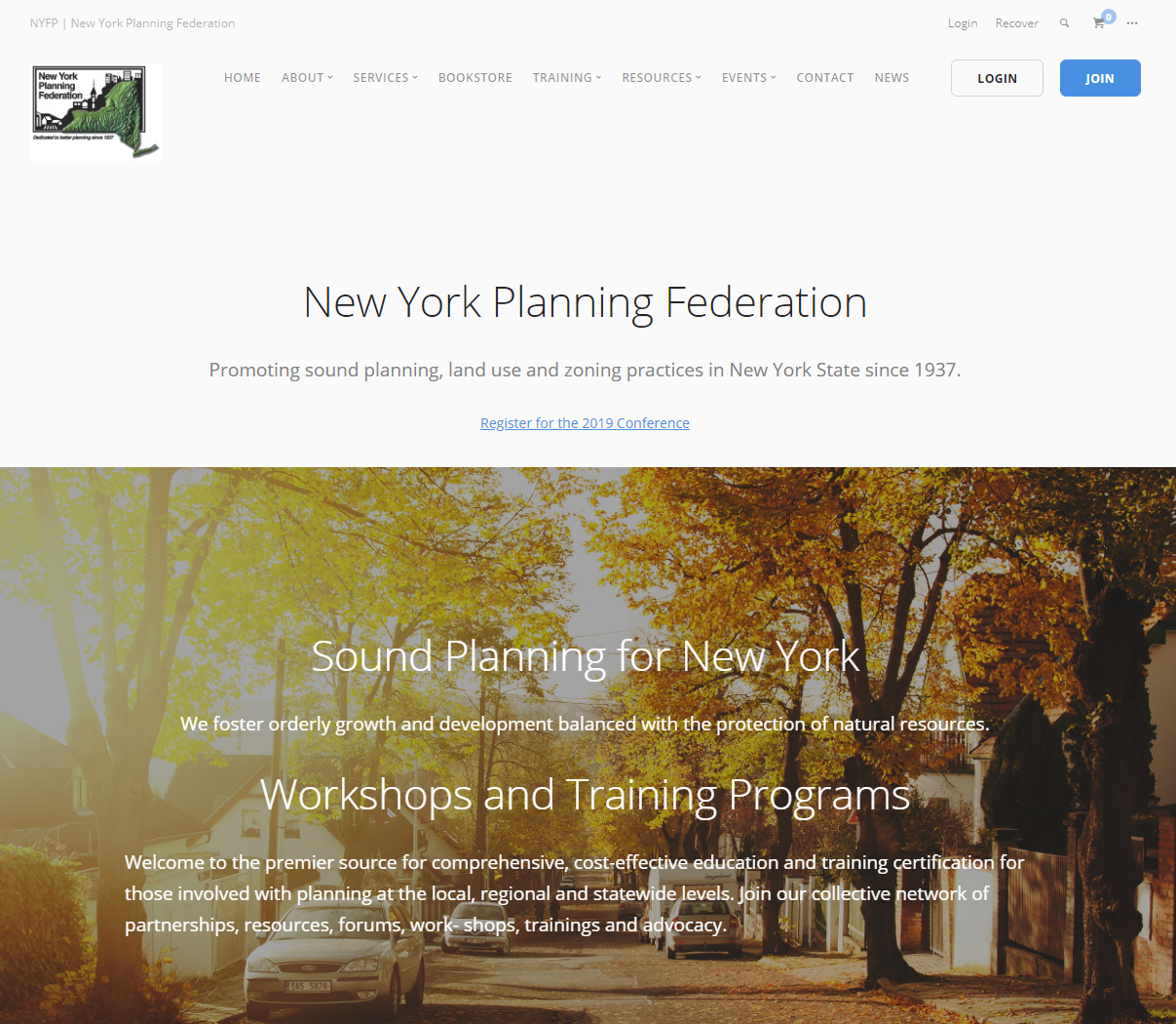 A screenshot of the New York Planning Federation web site